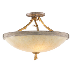 Corbett Three Light Gold And Silver Leaf Bowl Semi-Flush Mount