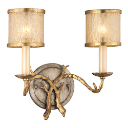 Corbett Gold / Silver Leaf Finish 2 Light Wall Sconce from the Parc Royale Collection