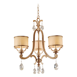 Corbett Antique Roman Silver 3 Light Chandelier from the Roma Collection