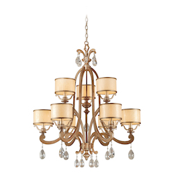 Corbett Antique Roman Silver 9 Light 2 Tier Chandelier from the Roma Collection