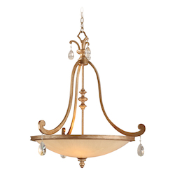 Corbett Antique Roman Silver Four Light Foyer Pendant from the Roma Collection