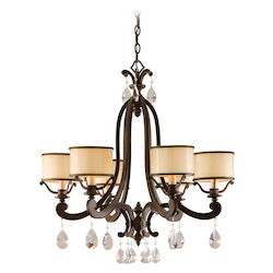 Corbett Hand Wrought Iron Six Light Chandelier with Crystals from Roma Collection