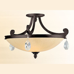 Corbett Classic Bronze Three Light Semi-Flush Ceiling Fixture From The Roma Collection