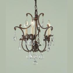 Feiss Three Light British Bronze Up Mini Chandelier