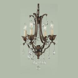 Feiss Four Light British Bronze Up Mini Chandelier