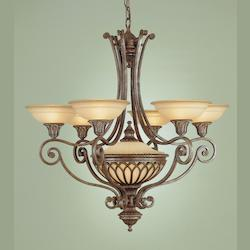 Feiss Seven Light British Bronze Antique Excavation Glass Up Chandelier