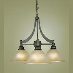 Feiss Three Light Oil Rubbed Bronze Frost Amber Glass Down Chandelier