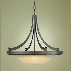 Feiss Four Light Oil Rubbed Bronze Frost Amber Glass Up Pendant