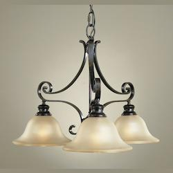 Feiss Three Light Liberty Bronze Frost Amber Glass Down Chandelier
