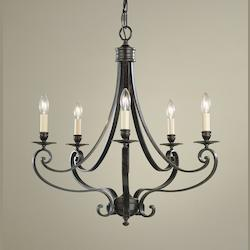 Feiss Five Light Liberty Bronze Up Chandelier