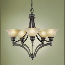 Feiss Five Light Oil Rubbed Bronze Frost Amber Glass Up Chandelier