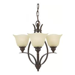 Feiss Three Light Grecian Bronze Cream Snow Glass Up Chandelier