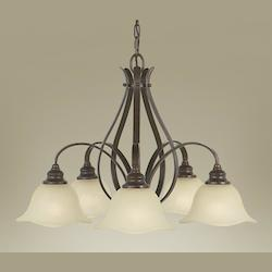 Feiss Five Light Grecian Bronze Cream Snow Glass Down Chandelier