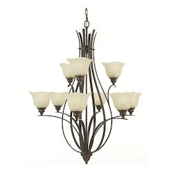 Feiss Nine Light Grecian Bronze Cream Snow Glass Up Chandelier