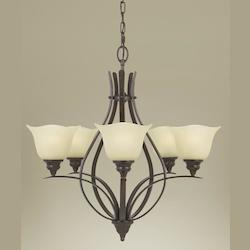 Feiss Five Light Grecian Bronze Cream Snow Glass Up Chandelier