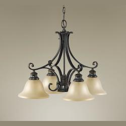 Feiss Five Light Liberty Bronze Frost Amber Glass Down Chandelier