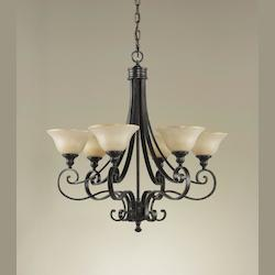 Feiss Six Light Liberty Bronze Frost Amber Glass Up Chandelier