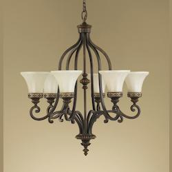 Feiss Six Light Walnut Amber Snow Scavo Glass Up Chandelier