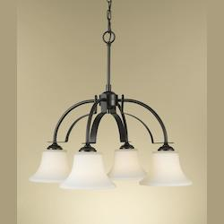 Feiss Four Light Oil Rubbed Bronze Opal Etched Glass Down Chandelier