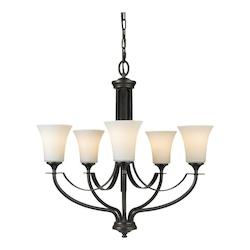 Feiss Five Light Oil Rubbed Bronze Opal Etched Glass Up Chandelier