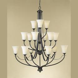 Feiss Fifteen Light Oil Rubbed Bronze Opal Etched Glass Up Chandelier
