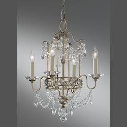 Feiss Four Light Gilded Silver Up Chandelier