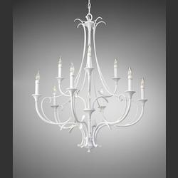 Feiss Nine Light Semi Gloss White Up Chandelier