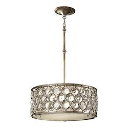 Feiss Three Light Burnished Silver Beige Fabric Shade Drum Shade Pendant