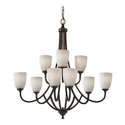 Feiss Nine Light Heritage Bronze White Opal Etch Glass Up Chandelier
