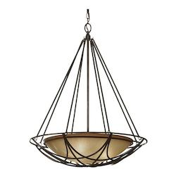 Feiss Three Light Mocha Bronze Striated Ivory Glass Up Pendant
