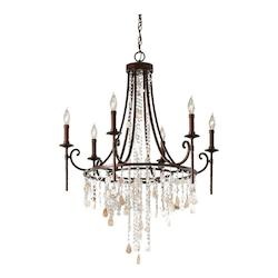 Feiss Six Light Heritage Bronze Up Chandelier