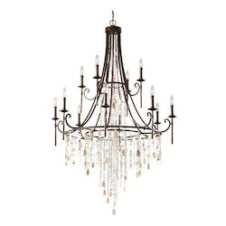 Feiss Twelve Light Heritage Bronze Up Chandelier
