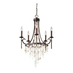 Feiss Five Light Heritage Bronze Up Chandelier
