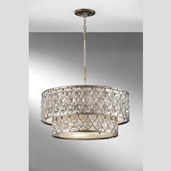Feiss Six Light Linen Fabric Shade Burnished Silver Drum Shade Pendant