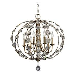 Feiss Six Light Burnished Silver Multi Light Pendant