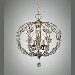 Feiss Three Light Burnished Silver Multi Light Pendant