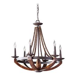 Feiss Six Light Rustic Iron/Burnished Wood Up Chandelier