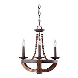 Feiss Three Light Rustic Iron/Burnished Wood Up Chandelier