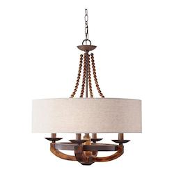 Feiss Four Light Beige Fabric Shade Rustic Iron/Burnished Wood Drum Shade Ch