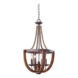 Feiss Four Light Rustic Iron/Burnished Wood Up Chandelier