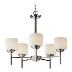 Feiss Five Light Polished Nickel Opal Etched Glass Up Chandelier