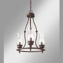 Feiss Three Light Heritage Bronze Clear Seeded Glass Up Chandelier