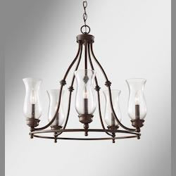 Feiss Five Light Heritage Bronze Clear Seeded Glass Up Chandelier