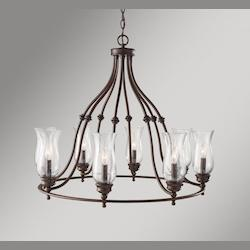 Feiss Eight Light Heritage Bronze Clear Seeded Glass Up Chandelier