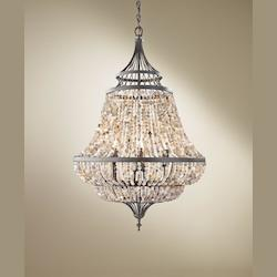 Feiss Six Light Rustic Iron Up Chandelier
