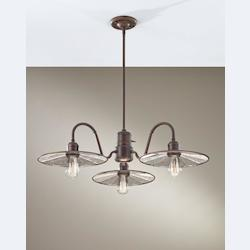 Feiss Four Light Astral Bronze Tiled Glass Down Chandelier