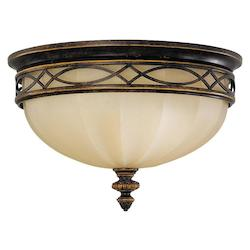 Feiss Three Light Walnut English Scarvo Glass Bowl Flush Mount