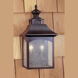 Feiss Two Light Oil Rubbed Bronze Seeded Glass Wall Lantern