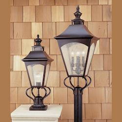Feiss One Light Oil Rubbed Bronze Thick Clear Seeded Glass Post Light