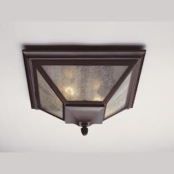 Feiss Two Light Oil Rubbed Bronze Thick Clear Seeded Glass Outdoor Flush Mou